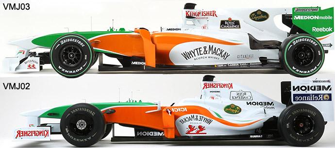 Force India VMJ03 vs VMJ02