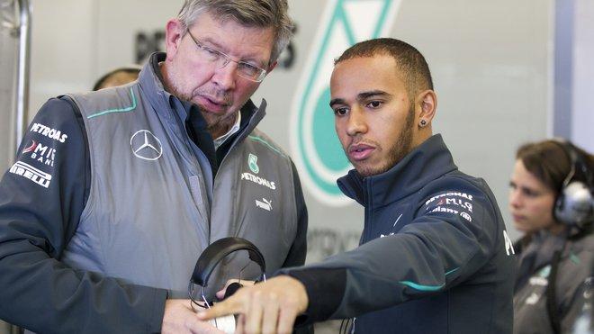 Lewis Hamilton a Ross Brawn v době jejich společného působení u Mercedesu