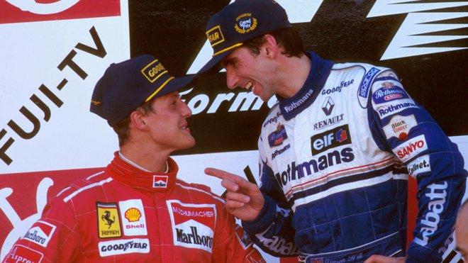 Michael Schumacher a Damon Hill - tihle dva si také nic nedarovali