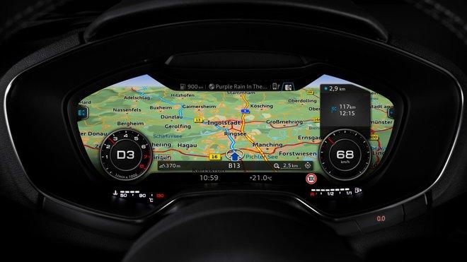 Systém Virtual Cockpit používaný automobilkou Audi. Konkrétně model Audi TT