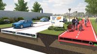 Vizualizace silnice z recyklovaného plastu