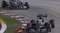 Lewis Hamilton a Nico Rosberg, GP Singapuru (Singapur)