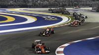 Sebastian Vettel po startu, GP Singapuru (Singapur)