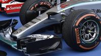 Přední křídlo vozu Mercedes F1 W06 Hybrid v Suzuce
