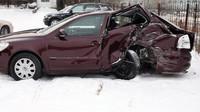 Takhle dopadla vínová Octavia, když se v Rusku střetla s kamionem.