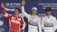 Nico Rosberg, Lewis Hamilton a Sebastian Vettel po kvalifikaci v Mexiku