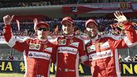 Kimi Räikkönen, Esteban Gutiérrez a Sebastian Vettel při Finali Mondiali