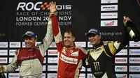 Sebastian Vettel, Tom Kristensen a Petter Solberg na podiu Race of champions