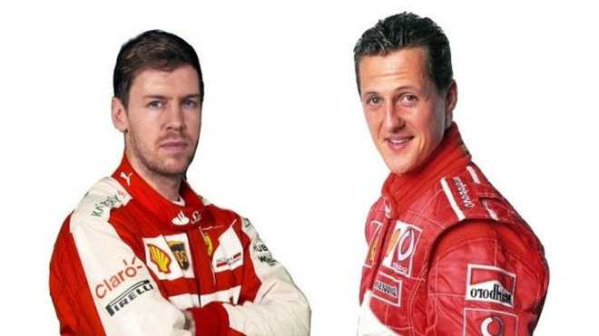 Sebastian Vettel a Michael Schumacher