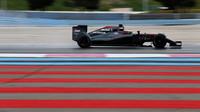 Stoffel Vandoorne s loňským McLarenem MP4-30 a s novým logem Chandonu v přední části vozu