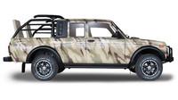 Lada 4x4 se pro zbrojovku Rostec oděla do loveckého.