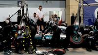 Nico Rosberg přezouvá pneumatiky v závodě v Bahrajnu