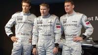 Mika Häikkinen s Alexem Wurzem (vlevo) a Davidem Coulthardem v dobách své závodní kariéry