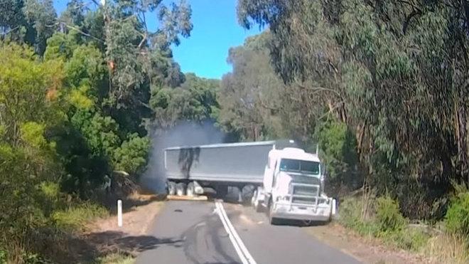 Řidič kamionu přehlédl spadlý strom na silnici
