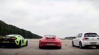VIDEO: Srovnání VW Golfu R, Porsche 911 S a McLarenu 675LT na čtvrt míli. Vítěz je jasný, nebo ne? - anotační foto