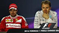 Sebastian Vettel a Nico Rosberg na tiskovnce po závodě v Číně