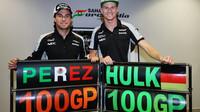 Sergio Pérez a Nico Hülkenberg slaví 100 GP v Soči