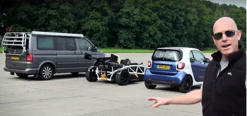 VIDEO: Nejpodivnější srovnání. VW California vs. Smart Fortwo a Ariel Atom 3,5R - anotační foto