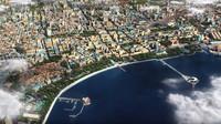 Letecký pohled na centrum Baku, kde se bude závodit