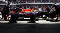 Max Verstappen při kvalifikaci v Barceloně