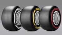 Super-měkká, měkká a středně-tvrdá směs pneumatik Pirelli (zprava doleva)