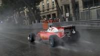 Sebastian Vettel za deště v závodě v Monaku