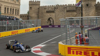 Marcus Ericsson a Felipe Nasr při tréninku v Baku
