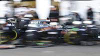Fernando Alonso v závodě v Baku