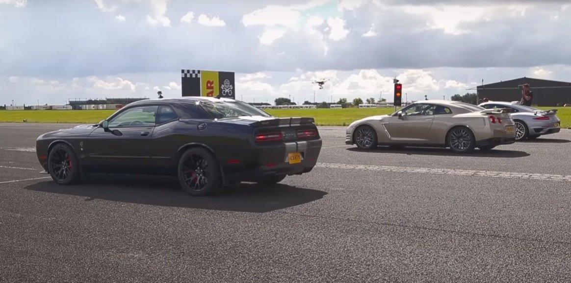 Souboj titánů: 911 Turbo S vs. GT-R vs. Challenger Hellcat. Kdo vyhraje? - anotační foto