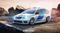 Divoce upravená Octavia RS v policejních barvách je vizí známého grafika.