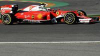 Kimi Räikkönen při pátečním tréninku v Belgii