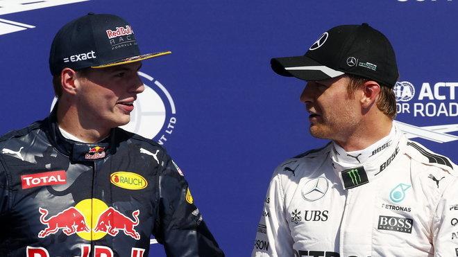 Max Verstappen a Nico Rosberg po kvalifikaci v Belgii
