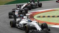 Felipe Massa, Fernando Alonso a Nico Hülkenberg v závodě na Monze