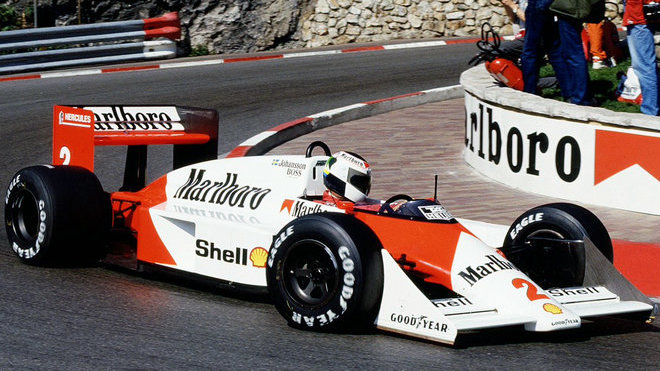 Steffan Johansson s McLarenem MP4/3 v GP Monaka 1987