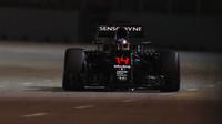 Fernando Alonso při pátečním tréninku v Singapuru