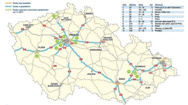 Mapa tuzemských dálnic se zpoplatněnými a nezpoplatněnými úseky.