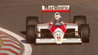 Alain Prost si jede s McLarenem MP4/4 pro vítězství ve Velké ceně Portugalska