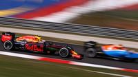 Max Verstappen a Flo-wis na jeho voze při pátečním tréninku v Malajsii