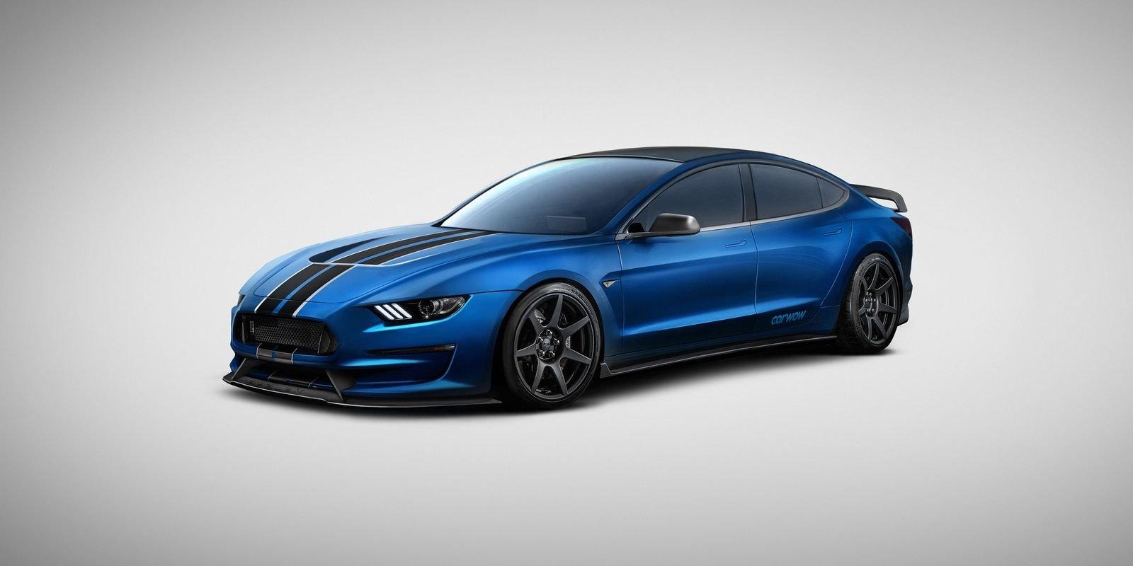 Tesla Model 350R = Shelby Mustang GT350R + Tesla Model S. Elektrický sedan fascinuje i zapřísáhlé odpůrce alternativních pohonů. Když ale do jeho útrob vložíte srdce nefalšového amerického muscle caru, i produkt Elona Muska začne vypadat neskutečně přitažlivě. Tedy až na ten vzhled.