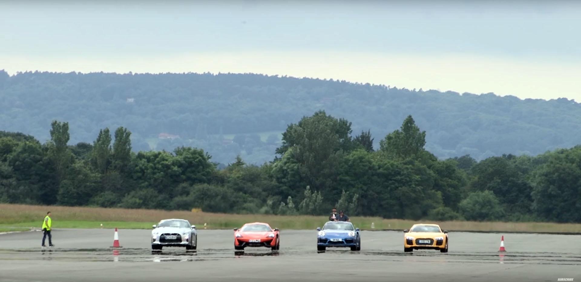 Bitva na ostří nože. GT-R, 911 Turbo S, R8 V10 Plus a 570S poměřili síly - anotační foto