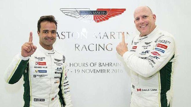 Rychlé duo Aston Martin Racing - profesionál Pedro Lamy (vlevo) a amatér Paul Dalla Lana