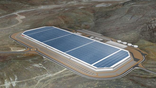Vizualizace Gigafactory automobilky Tesla Motors v americké Nevadě.