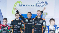 Piloti G-DRIVE Racing Alex Brundle, Roman Rusinov, René Rast na pódiu v Bahrajnu