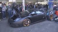 Demonstrativní zničení ilegálně dovezeného Lamborghini Murciélago.