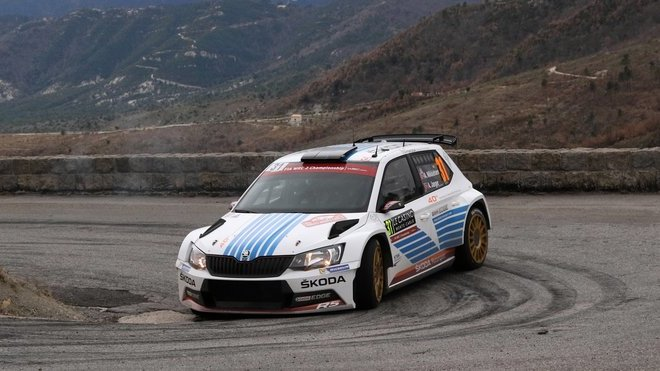 Andreas Mikkelsen se Škodou Fabií R5 na Rally Monte Carlo
