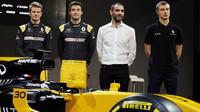 Piloti Renaultu - Hülkenberg, Palmer a Sirotkin - při slavnostní prezentaci