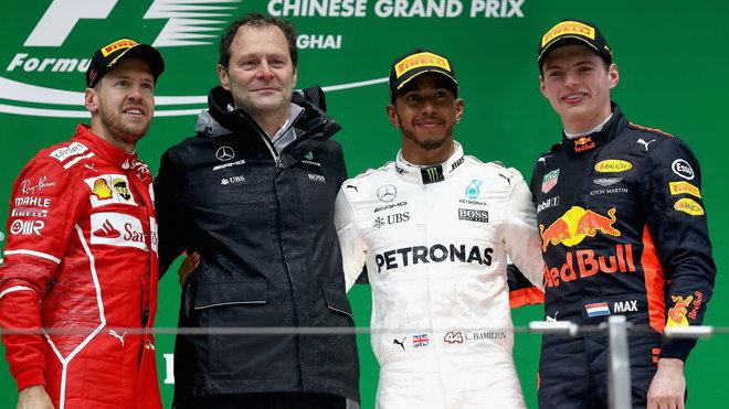 Nejlepší jezdci na pódiu po Velké ceně Číny