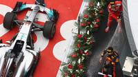 Max Verstappen a Sebastian Vettel na pódiu po závodě v Číně