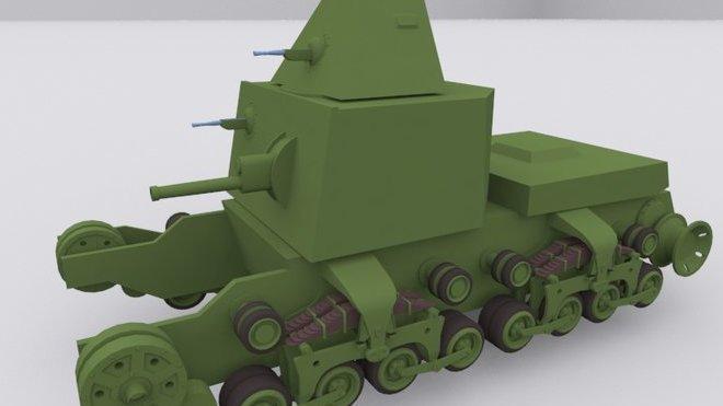 Vizualizace projektu tanku s otáčivou věží a nástavkem