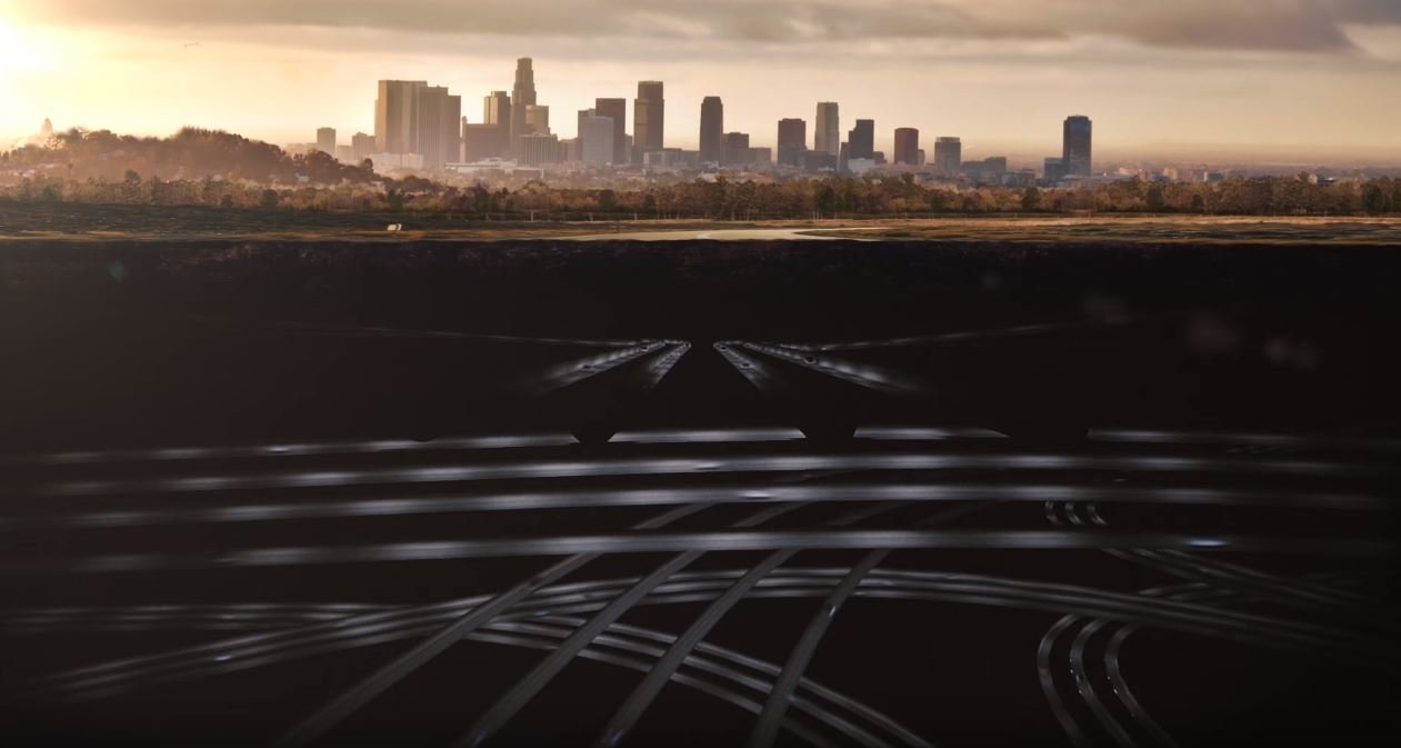 Systém tunelů Boring Company pod Los Angeles